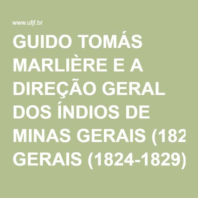 GUIDO TOMÁS MARLIÈRE E A DIREÇÃO GERAL DOS ÍNDIOS DE MINAS GERAIS (1824-1829)