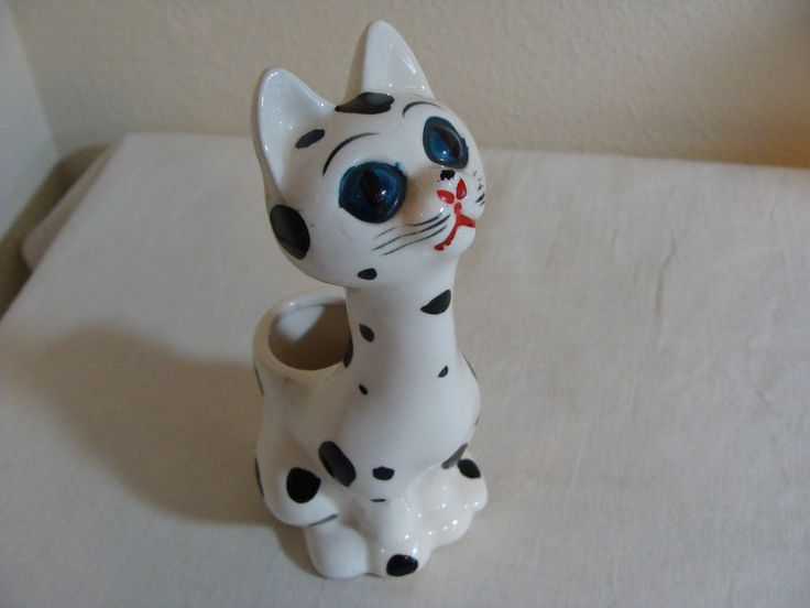 Vtg I.W. Rice Imports Japan Big Eyed Cat Spots Bud Vase Pottery Planter Figurine #IWRice