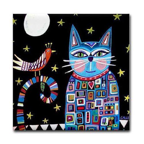Cat-Folk-art-Tile-Ceramic-Coaster-Mexican-Folk-Art-Print-Tabby-Cat-Lover