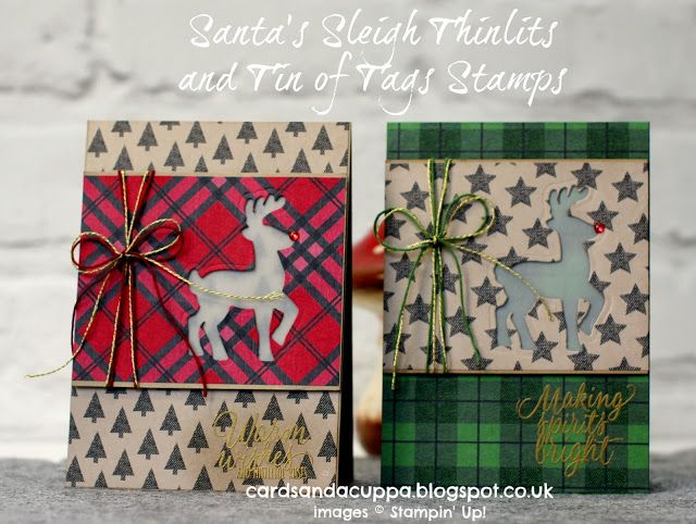 Sarah-Jane Rae cardsandacuppa: Stampin' Up! UK Order Online 24/7: Making Two Vellum Window Cards using the Santa's Sleigh Reindeer by SU!