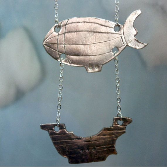 dirigible.  Changeless.  : Reference Stardust, Zeppelin Necklaces, Inspiration Steampunk, Pendants Necklaces, Awesome Necklaces, Stardust Inspiration, Steampunk Airship, Silver Airship, Airship Necklaces