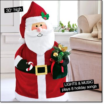 """On-the-Move Musical Santa AVON EXCLUSIVE Inflatable, sound-activated bump-and--go Santa is perfect for the entry way. He glows with LED lights. Comes with a pump to inflate. 30"""" H x 16"""" W x 11"""" D. Uses four AA batteries (not included). Polyester and plastic. Imported. Item#: 397-517 Brochure: intro special $34.99"""