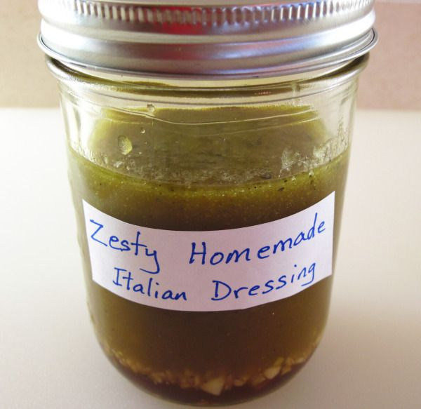 Zesty Homemade Italian Salad Dressing  Put 7 ingredients in a jar. Shake. Done!