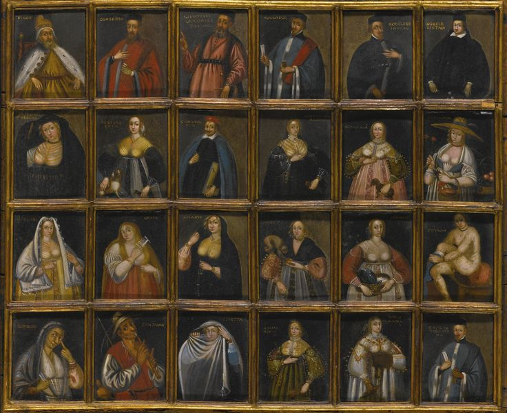 """Venetian School, 16th Century, Portraits of Venetian Personalities: 24 works, each, oil on copper, nailed to a single panel; each copper: 3 3/8""""x2 3/4"""", overall: 15 1/8""""x18 1/2"""", est $2k-$3k"""