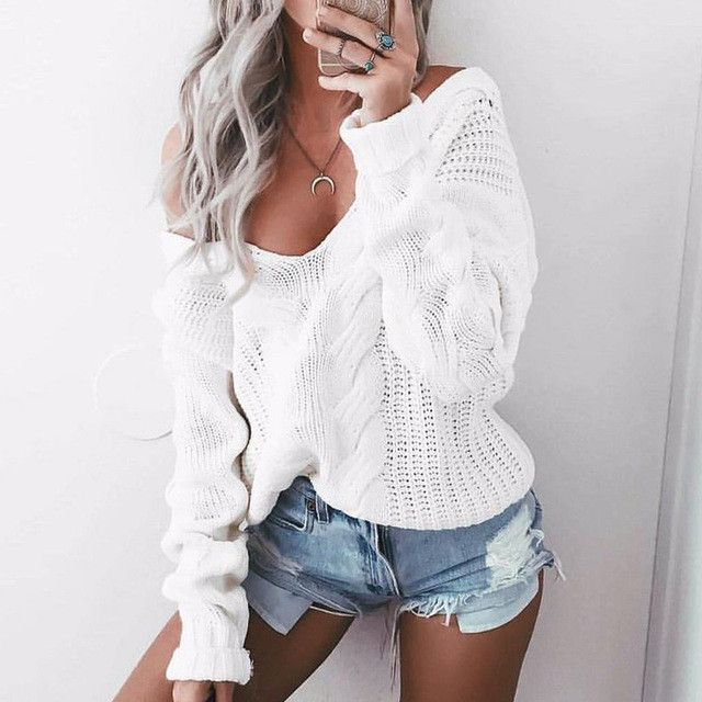 Long Sleeve Loose Casual Pullover, Twisted White Knit Sweater