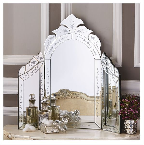 Reggia Venetian Style Dressing Table Wing Mirror - Glass/MDF Our exquisitely beautiful Reggia™ Venetian Style Dressing Table Wing Mirror lends an antiqued feeling of femininity and elegance to your va