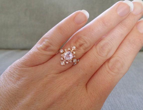 "Peach Morganite and Diamond Victorian Engagement Ring Vintage Antique Art Nouveau Art Deco Flower 14K Rose Gold ""The Fountainhead"""