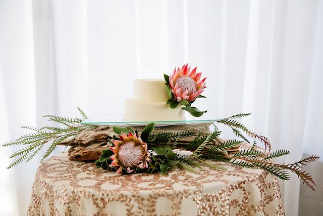 Protea topped wedding cake | Kristyn Hogan Photography | see more on: http://burnettsboards.com/2014/09/rustic-refined-driftwood-wedding-inspiration/