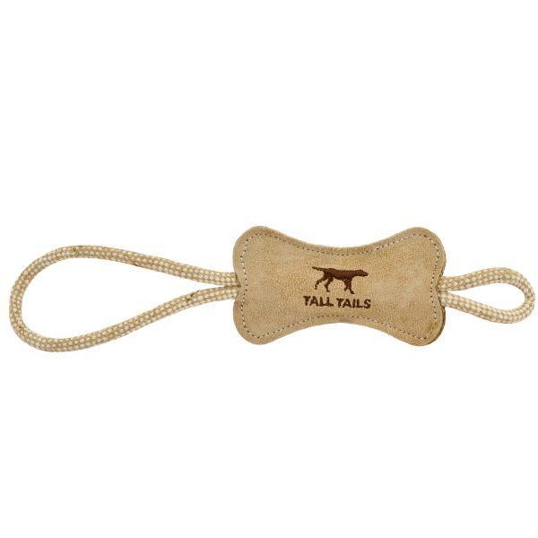 Natural Leather Bone Tug Toy Dog Toys Interactive Dog Toys Dog