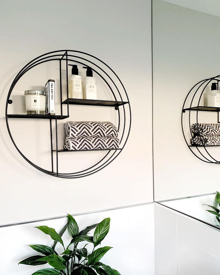 Round shelf for above toilet in Master Bathroom.  – Home decor