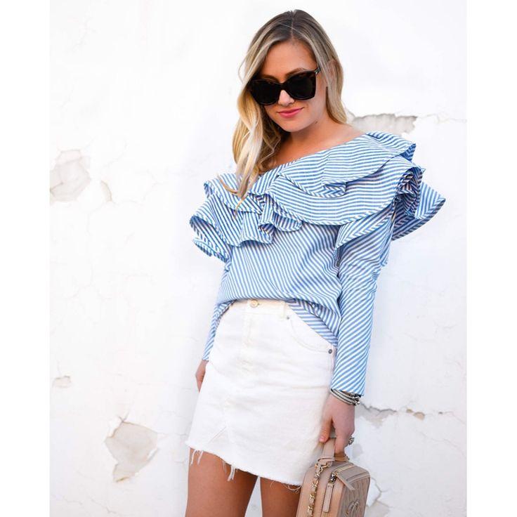 European style ruffles women shirts fashion sexy print striped long sleeve double layer ruffles collar  ladies tee shirts E4