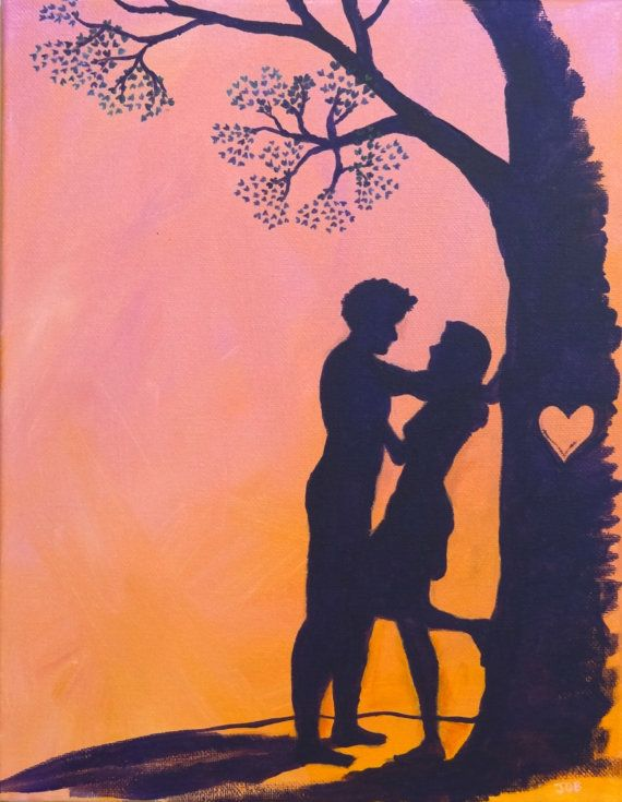 "Tree of Hearts - 9"" x 12"" original acrylic painting - Romantic Couple silhouette"