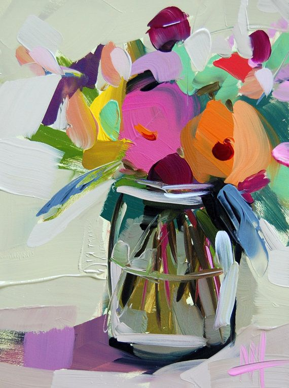 Country Flowers in Jar original still life oil painting by Angela Moulton | Art like this | Pinterest | Jar, Oil and Paintings