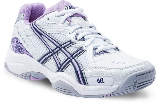 Gel Netburner 15 (Netball Shoe)  White/Navy/Lavender  Available in sizes 1 - 7