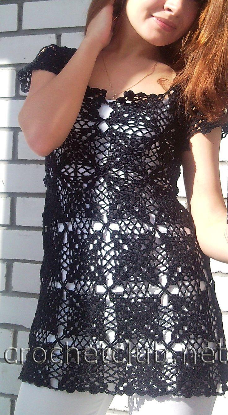 Черная и бордовая туника из квадратов - Вязание Крючком. Блог Настика. Схемы, узоры, уроки бесплатно