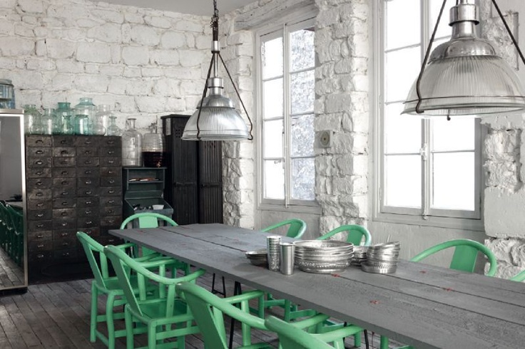 Love this space, the color scheme, and the minimalist/slightly industrial feel... Can this be my studio, please?: Dining Rooms, Mintgreen, Mint Green, Green Accent, Dining Chairs, Interiors Design, Colors Schemes, Green Chairs, Science Navon