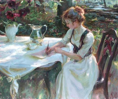 Mulher escrevendo no jardim