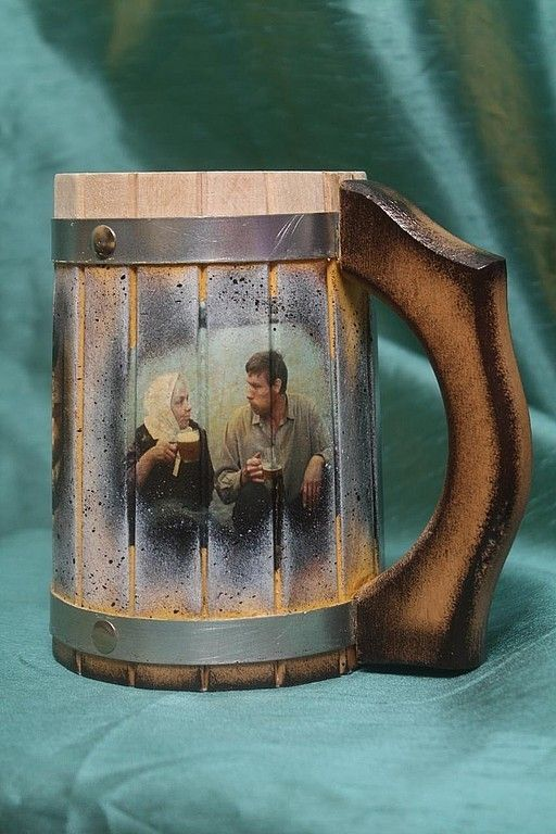 Gifts for Men handmade. 'Love and pigeons' - a beer mug with a measure of the degree of intoxication. Toadily Handmade. My Livemaster.