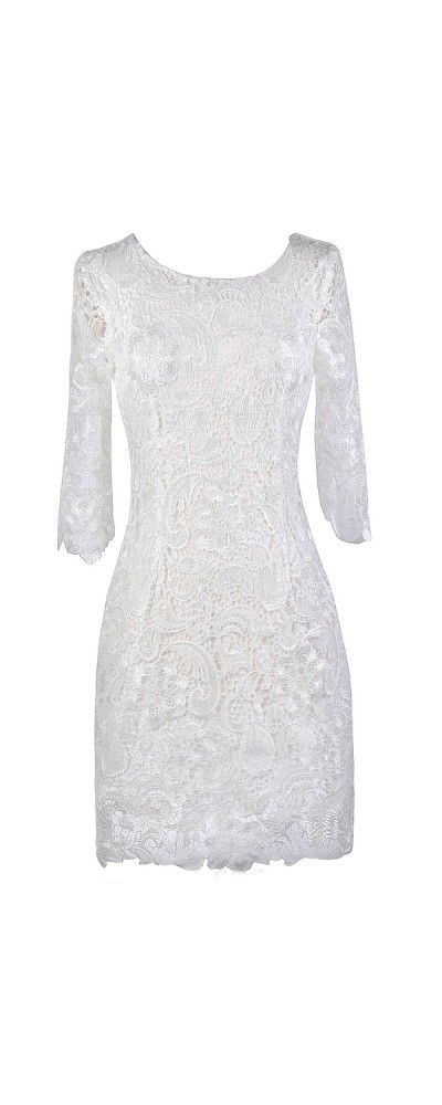 Lily Boutique Off White Crochet Lace Three Quarter Sleeve Dress