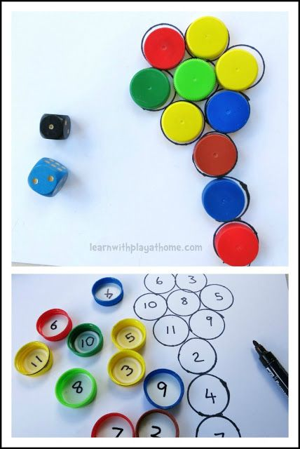 Learn with Play at home: Fun Bottle Top Addition Game. Lots of info on teaching math and extension activities for bottles and bottle caps!