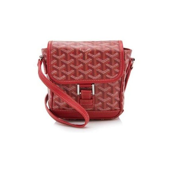 Pre-Owned Goyard Goyardine Canvas Grand Bleu PM Messenger Bag ($1,495) ❤ liked on Polyvore featuring bags, messenger bags, red, mini messenger bag, red crossbody bag, crossbody messenger bag, goyard messenger bag and canvas crossbody