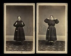 RARE 1860s SPORTS & Fashion Photos - Bodybuilding Girl Demonstrates DUMBBELLS!
