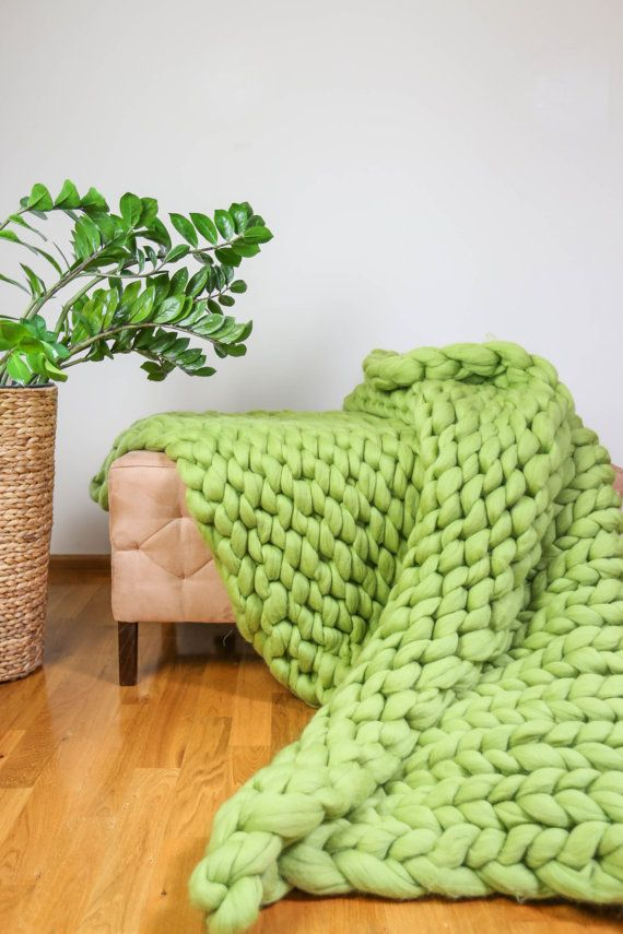 Chunky Knit Blanket Throw Blanket Sofa Throw Merino by Merrisson