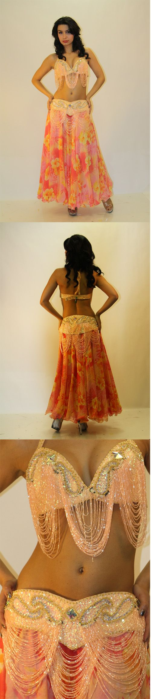 Full Belly Dance Costume: Peach and Floral