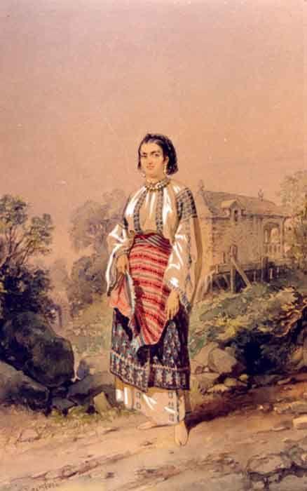 Romanian peasant woman from Arges, 1869,  Amedeo Preziosi   #lablouseroumaine #IA #Romanianblouse