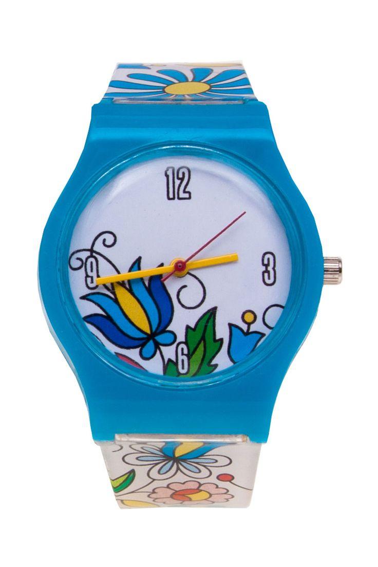 Kaszubski zegarek folk na rękę FOLK FLOWERS motyw ludowy, haft kaszubski