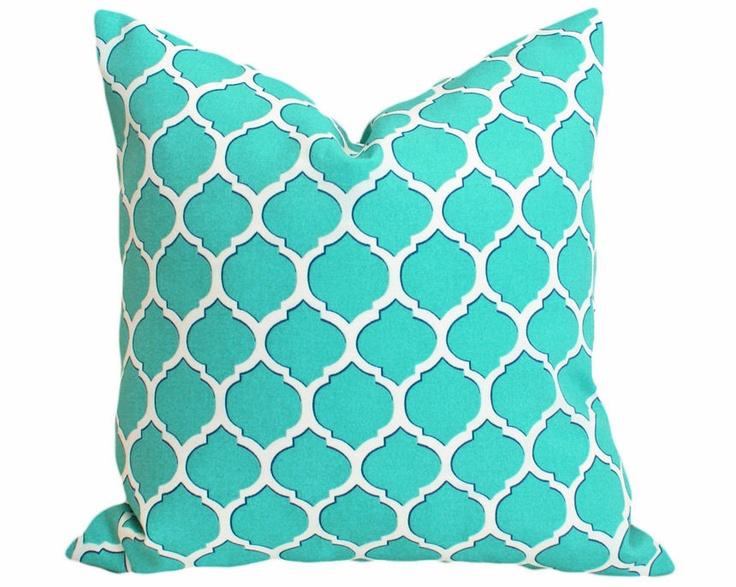 Turquoise Blue Patio Pillow, Geometric Trellis, Outdoor Pillows, Decorative Throw Cushion Covers, Designer Accent,  Beach House Decor 18x18. $29.00, via Etsy.