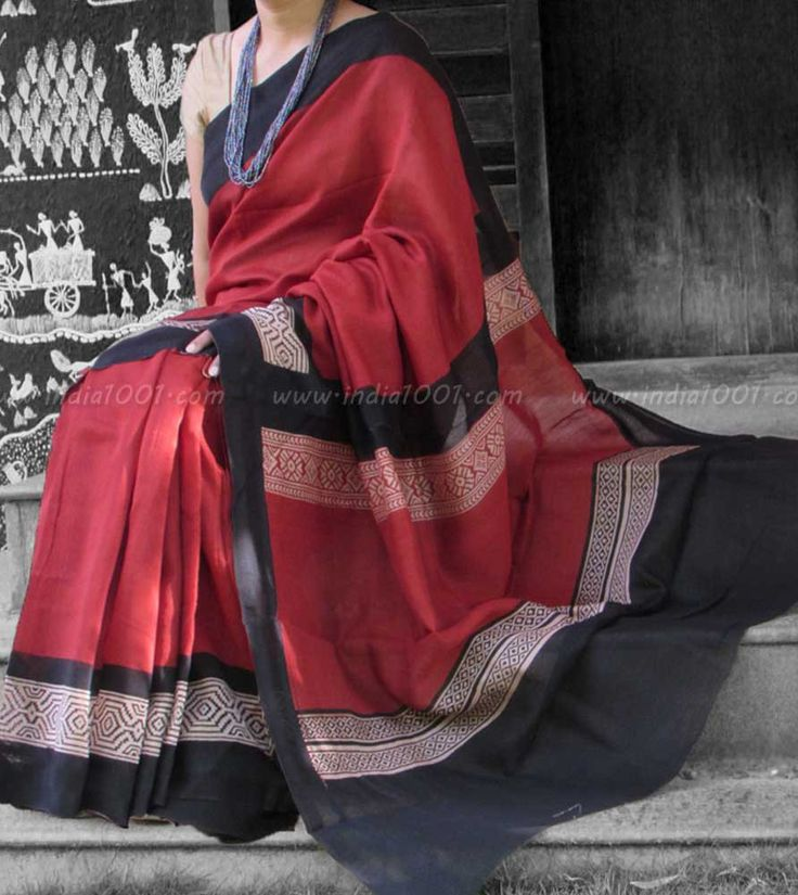 Elegant Chanderi Saree with Block Printing & Woven Temple Borders – India1001.com