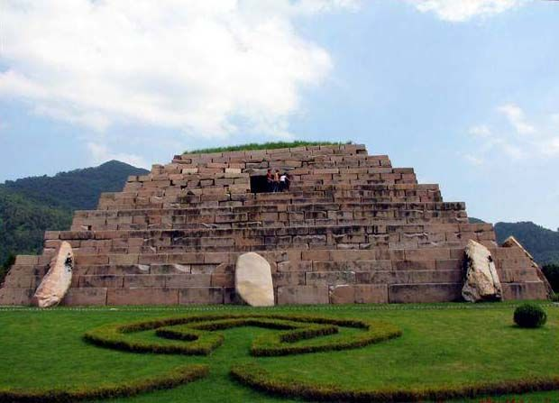 """Goguryeo Tomb -  Known as """"The General's Tomb""""  5th century - Ji'an, China.   This huge Goguryeo tomb is 75m (246 ft) square, but the original occupant is not known for sure, and there aren't any paintings inside. Many scholars think this is the tomb of Jangsu, a 5th century ruler of Goguryeo."""