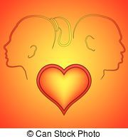 Volumetric red heart cracked. Silhouette man and woman in a quarrel. Grachyhamr