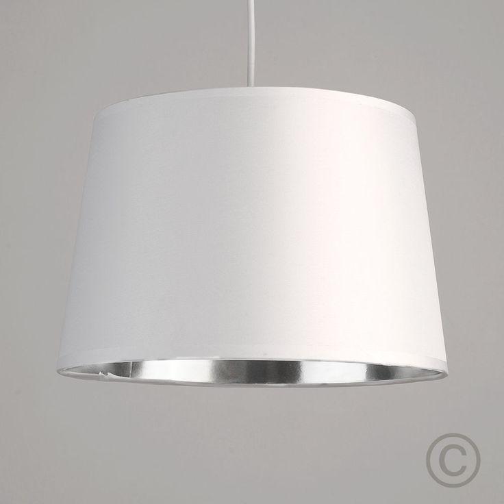 Modern White Ceiling Light Pendant Shade Metallic Silver ...