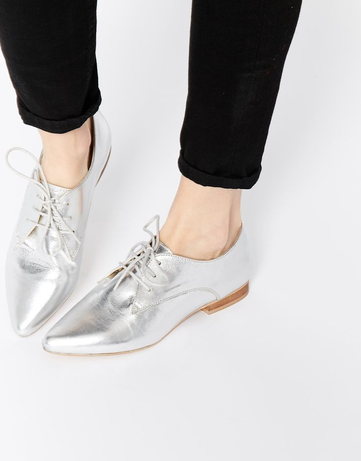 Image 1 of ASOS MARA Leather Pointed Flat Shoes