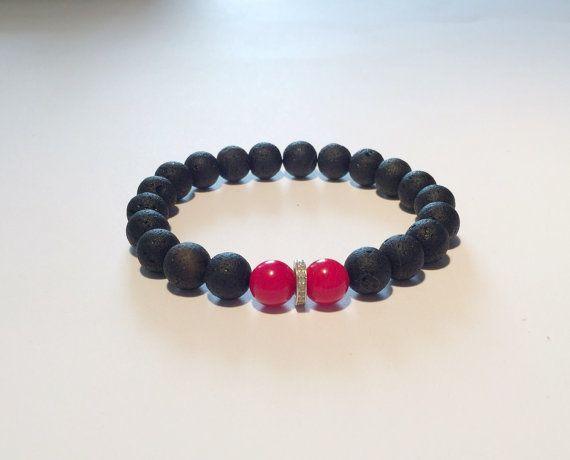 Men bracelet. BLACK, RED, DIAMOND bracelet. Black and red bracelet with diamond for him, onyx, coral and diamond bracelet