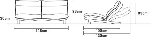 ハイバックリクライニングソファ・1シーター・ポリエステル平織/ブラウン 幅74×奥行100×高さ93cm   無印良品ネットストア