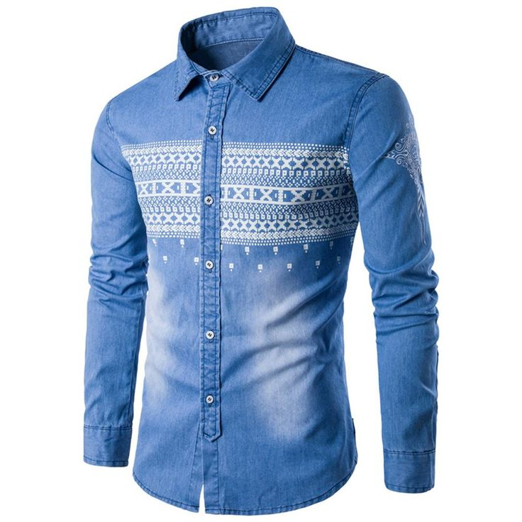 New Arrival Men High Quality denim Shirt Casual fashion slim Fit cotton Long Sleeve Jeans shirt
