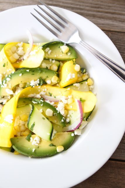 Zucchini Ribbon Salad with Sweet Corn and Avocado on twopeasandtheirpod.com Love this summer salad! #salad #glutenfree #zucchini