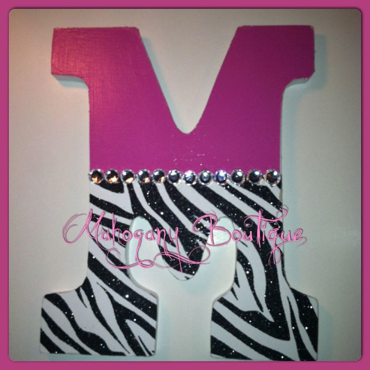 Custom Decorated Wooden Letters -Pink/Zebra Print Theme - personalized home decor nursery bedroom. $20.00, via Etsy.