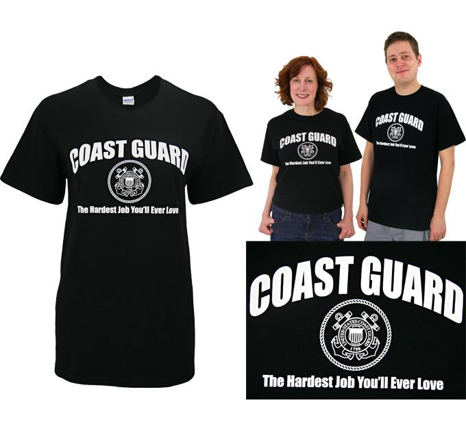 The toughest job you'll ever love. The men and women of the United States Coast Guard are a proud breed, protecting our coastlines with strength and honor. Our t-shirt's simple message leaves no doubt: the Coast Guard is on the job.