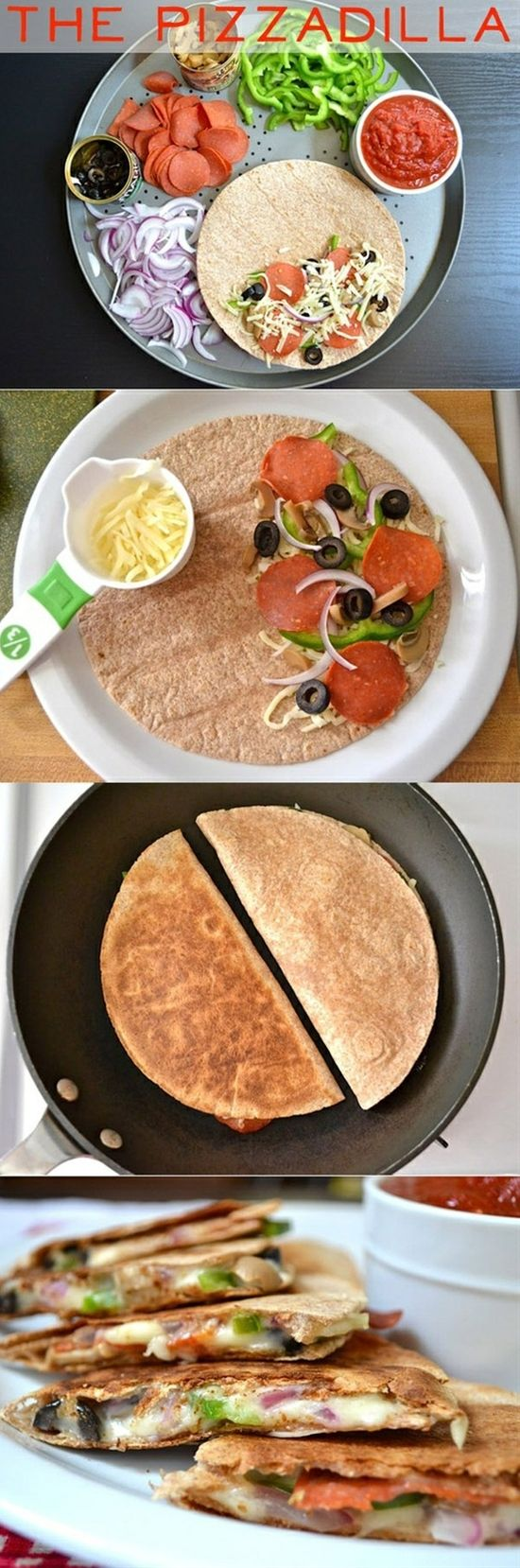 What? Pizzadilla! Healthy Pizza Just Got Real! It blows my mind. Pin now, cook it later! :P