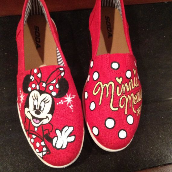 Minnie Mouse Disney Custom Toms by xbrookemx on Etsy, $90.00