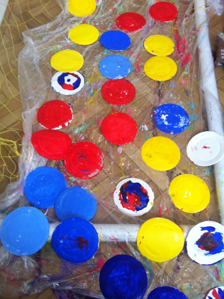 Painted plates to help create coloured shapes for Hervé Tullet Pop Up Experience