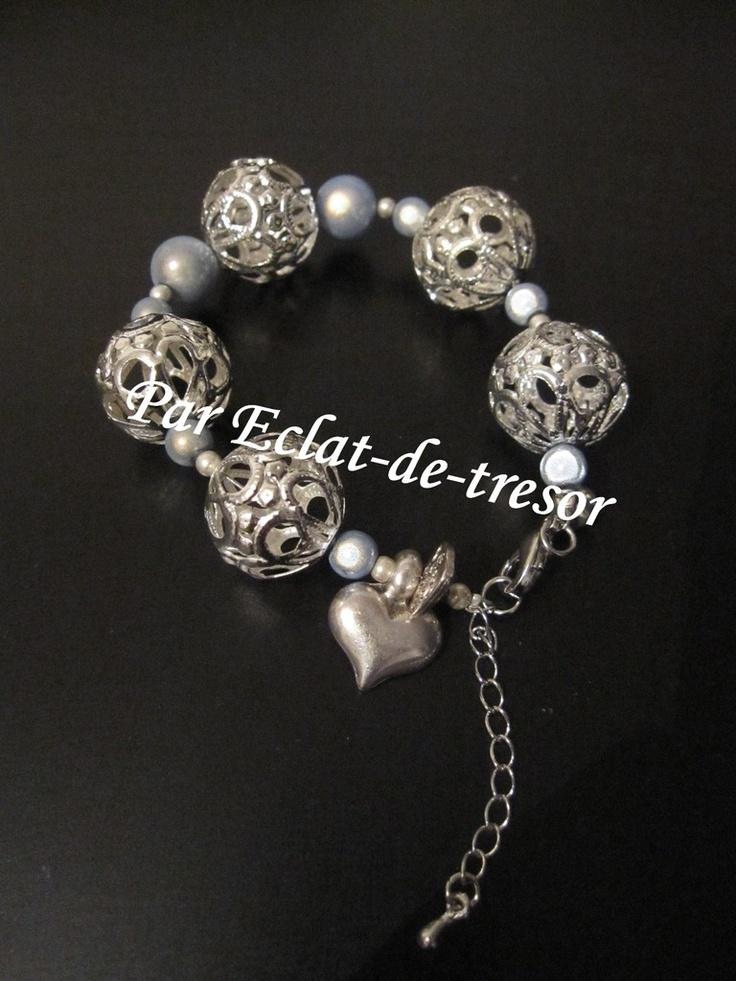 Bracelet Coeur et perles filigrane