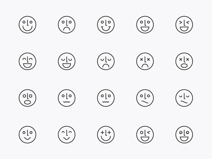 Modern Line Icons Design - Face & Emotion Icons by .C-Du Studio