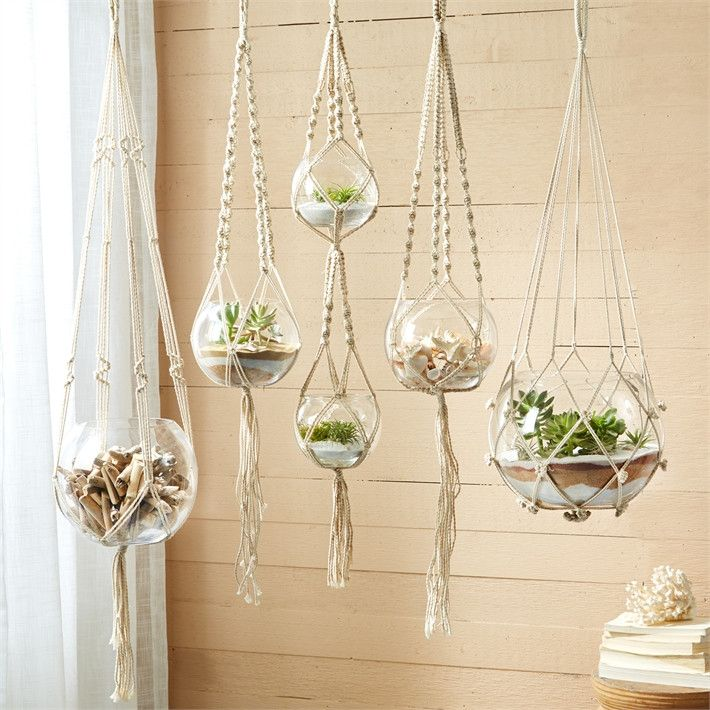 Set of 5 Hand Braided Macramé Plant Hangers/Candleholders. Includes Cotton Rope and Glass Bowls Fill with shells, tea light candles, plants, driftwood, pretty things. Assorted bowl sizes from 6-1/2 wi