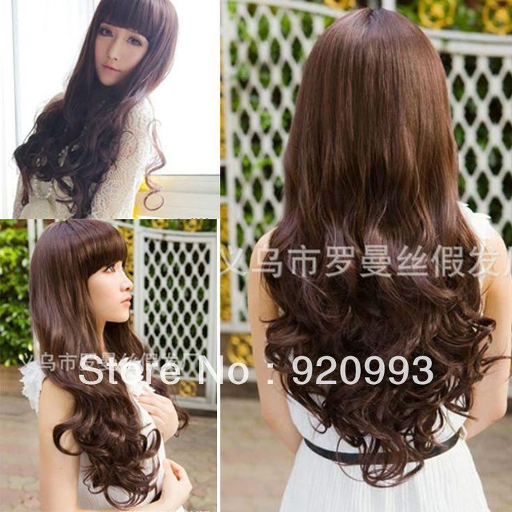 Бесплатно P и P ******* женские длинные коричневые полные парики волосы сексуальная мода косплей стиль