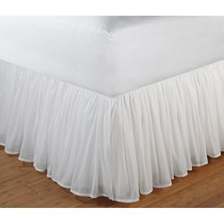 White Gathered Cotton Voile 18-inch-drop Bedskirt with Polyester Liner